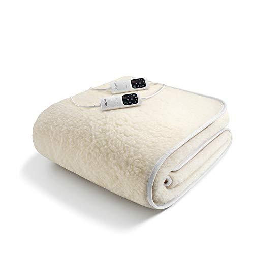 Coperta Termica Elettrica Matrimoniale Riscaldante Flanella Rapido Riscaldamento con 6 Livelli & 3 ore Spegnimento Automatico & Protezione Surriscaldamento 130 * 180cm, Lavabile 2