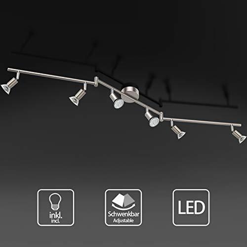 Plafoniera LED orientabile con 4 faretti a fiamma, lampada da soffitto a LED inclusi 4 faretti LED da 4 W, G9 a luce bianca calda, per soggiorno, camera da letto, cucina