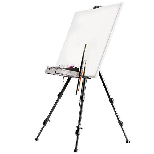 ALLUMINIO CAMPO CAVALLETTO | nero, portabile, 165 cm | a tela di lino 83 cm