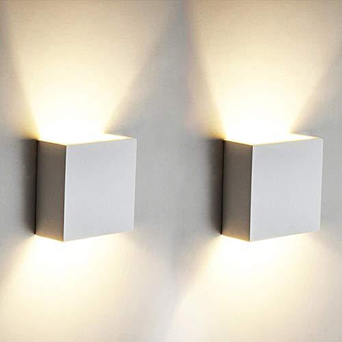 2 Pezzi 6w Led Applique Da Parete Lampada Da Parete Bianco Caldo 3000k Moderno In Alluminio Per Soggiorno Camera Da Letto Corridoio Scale Cucina Sala Da Pranzo Tod Casa