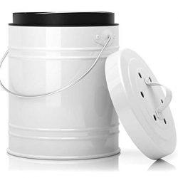 Utopia Kitchen [5 Liter] Contenitore per Compost in Acciaio Inox per Piano di Lavoro – Secchio per Compost da Cucina – Include 1 Filtro a Carbone di Ricambio