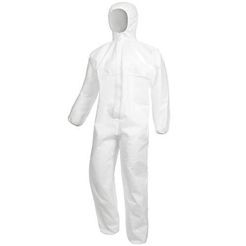 Nitras Einweg Overall 609- Tuta protettiva usa e getta di alta qualità Categoria 3, tipo 5e 6, bianco