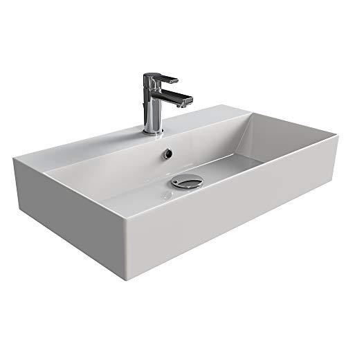 Lavabo ad angolo da parete in ceramica con 1 foro per rubinetto, 34 cm x 34 cm, 24 pezzi