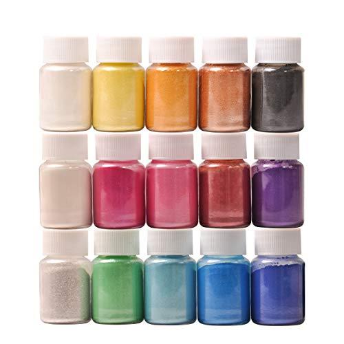 HXDZFX, colorante in resina epossidica, 15 colori, pigmenti trasparenti in resina epossidica, colorante liquido per resina, gioielli, fai da te, artigianato artistico (10 ml ciascuno)