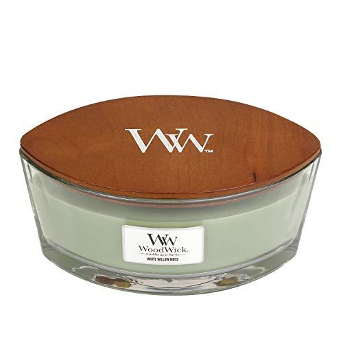 WoodWick, candela profumata con Pluswick Innovation, paraffina Soft Chambray, clessidra media 2
