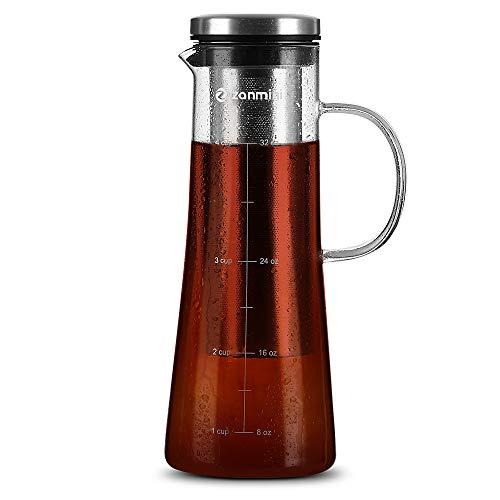 oneday – Brocca in Vetro con Coperchio in Acciaio Inox e beccuccio, caraffa in Vetro priva di bpa-borosilicato con Manico, per Vino, succhi, Latte, Acqua Calda e Fredda, caffè Caldo e Altro