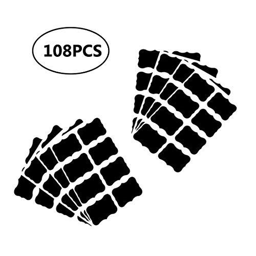 FOGAWA 150Pcs Etichette Adesive Lavagna Nero Etichette di Lavagna Riutilizzabile Etichette Adesive per Barattoli Vetro Muro Porta Cucina Fai da Te con 1 Penna per Lavagna
