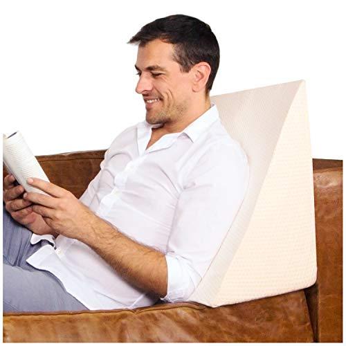 NEEGO Gonfiabile Cuscino di Lettura Portatile Lettura Cuscini per Letto Schienale Cuscino Comodo Cuscino da Lettura per Lettura Biblioteca Lettura Cuscino di Supporto (Grigio)