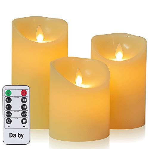 Hausware Candele LED Candele Senza Fiamma con Telecomando e Timer Candele alimentate a Batteria Luce per Feste Natalizie Compleanno Giardino per la casa