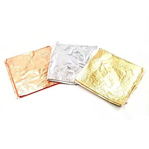 300 finte foglie d'oro in lega, colori: oro, argento, oro rosa, rosa, blu, viola. Ideali per decorazioni fai da te (9 x 9 cm) 2