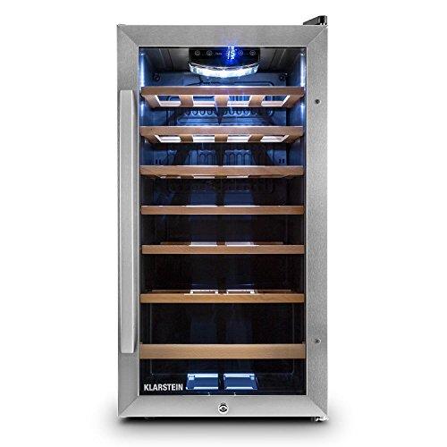 Klarstein Vivo Vino • frigorifero per vini • frigorifero per bevande • 52 L • 18 bottiglie • 5 ripiani • silenzioso • range temperatura: 11° – 18° C • illuminazione interna LED • nero