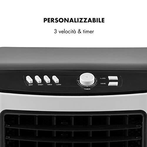 Aigostar Kohl 33JTJ – Ventilatore Raffrescatore, Refrigeratore d'aria. 60W, 3 modalità selezionabile con telecomando. Timer 7 ore. 15 litri. 2 blocchi ghiaccio inclusa.