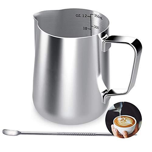 KimKing 350ml Bricco da latte Lattiera per cappuccino in Acciaio Inox Caffè Latte Art Bilance di misurazione di due lati