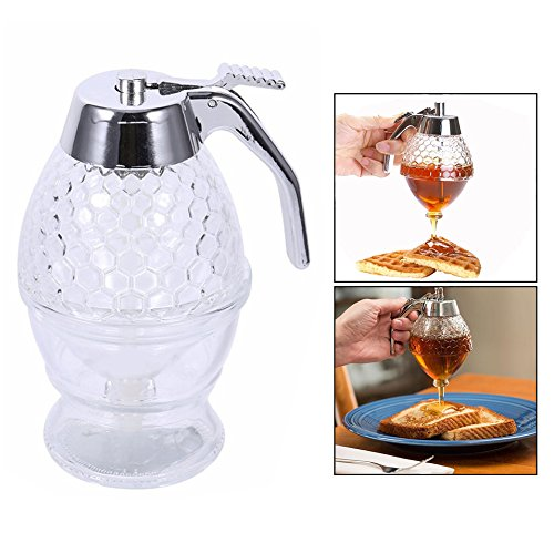 Fdit Barattolo Miele Trasparente a Forma di Alveare con Bastoncino dripper conservare dispensare Miele 245 ml