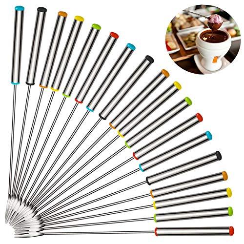 Orblue, forchette da fonduta con manico in legno, 8pezzi in un set, diversi colori