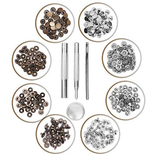 Bottoni a pressione in metallo, ideali per borse, vestiti, lavori di cucito, confezione di set da 12 pezzi
