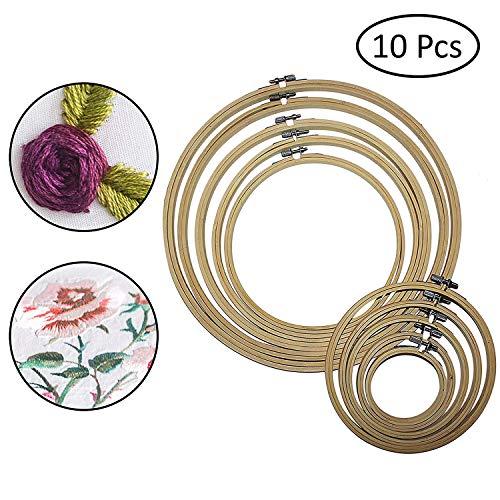 Onepine 3 pezzi cerchio da ricamo cerchio di bambù cerchio punto croce anello da 6 pollici a 8,3 pollici per fai da te Artigianato