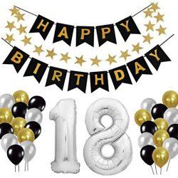 Decorazione Festa di Compleanno, Gyvazla Striscioni di Buon Compleanno Happy Birthday, 12 Colorato Party Palloncini, 8 Pacchetti da nido d'ape, 1 Decorazione stella per decorare di Party