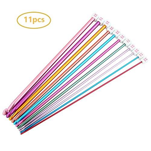 LIHAO 10 Coppie Ferri da Maglia Circolari Bamboo 3.5-10.0mm con Accessori per Lavori a Maglia e Uncinetto