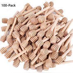 Istloho 25X Cucchiaini Bastoncini Miele Legno Piccoli spargimiele cucchiai per vasetti Miele per bomboniere Ringraziamento Matrimonio, 8cm 2