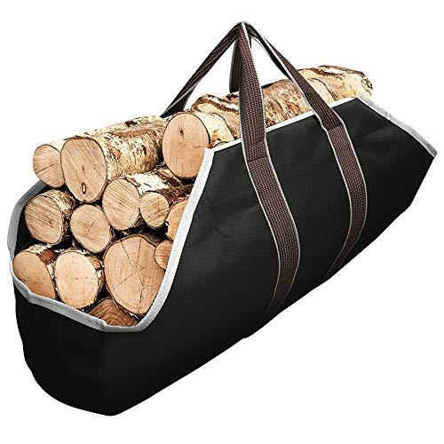 Amagabeli Borsa per Tronch Totalizzatore Camino Borsa per la legna da ardere Impermeabile Porta legna da esterni con maniglie Cinghie di imbottitura antiscivolo Borsa da trasporto robusta per registri