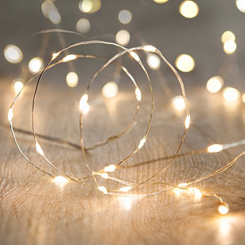 Kolpop Stringa Luci LED a Batteria [4 Pezzi], Catena Luminosa 5m 50 LED con Filo Rame Ghirlanda Luminosa Lucine LED Decorative per Camere da Letto Giardino Casa Feste Natale Matrimonio (Bianco Caldo)