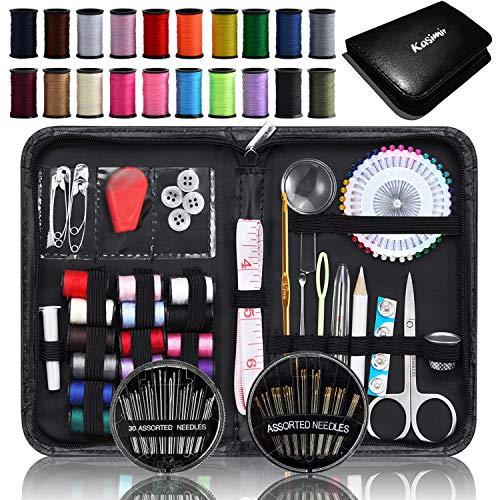 D&D, scatola da cucito con kit da cucito con accessori, cestino organizer in legno con accessori per la casa e per i viaggi, color blu a pois, grande 2