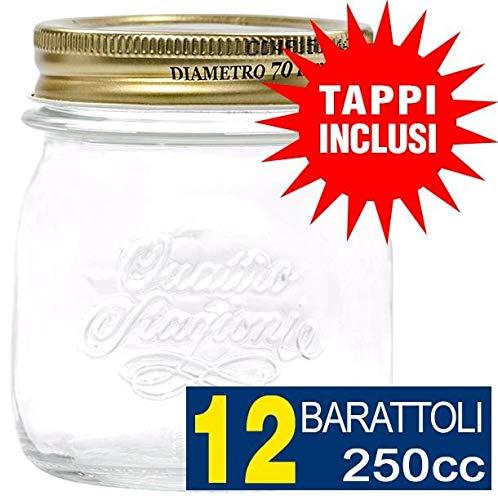 Set 9 bicchieri Weck da 580 ml cristalli da 1/2 l con 9 coperchi in vetro, 9 vasetti di cottura e 18 morsetti, incluso di libro delle ricette di zucchero Diamant