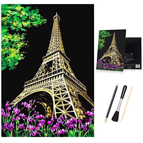 DBG Set da 8 pezzi per la creazione di cartoline con tecnica della raschiatura, carta da disegno da colorare e raschiare con un set di 5strumenti per il disegno, animali e panorami notturni (A) 2