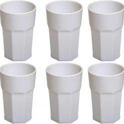 Omada Design Set di 6 Bicchieri bar, da bibita o long drink 42,5 cl, altezza 12,5 cm in plastica, infrangibili, impilabili forma ottagonale e lavabili in lavastoviglie linea Unglassy Bianco