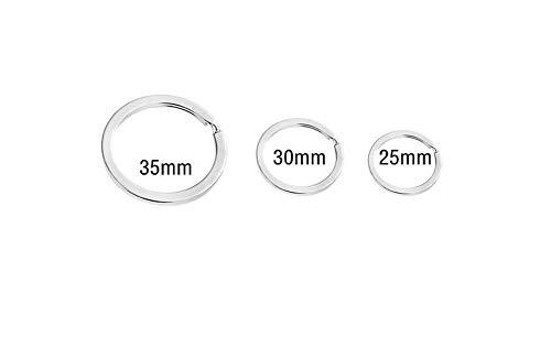 Ericotry 50pz rotondo in acciaio INOX piatto portachiavi anelli portachiavi in metallo, con anello portachiavi porta chiavi casa chiavi auto organizzazione, Silver, 3.0cm 5