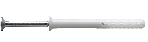 Mungo MNA-S Tassello a Battuta Prolungato in Nylon con Vite a Chiodo Premontata Bordo Svasato, 6×80 mm, 100 Pezzi