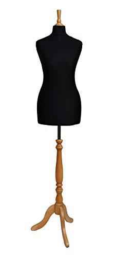 The Shopfitting Shop Deluxe Taglia 14Donna Prova Abiti manichino da Sarto Busto manichino Nero Jersey treppiede in Legno, Effetto faggio