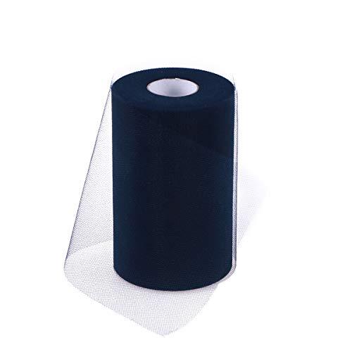SUPVOX Rotoli di Nastro di Tulle Rotoli di Garza di Tulle per la Sedia da Passeggio per Tavolo da Sposa Corrispondenza di Prua di Fiocco 15 cm x 100 Metri (C39, Blu Zaffiro Scuro)