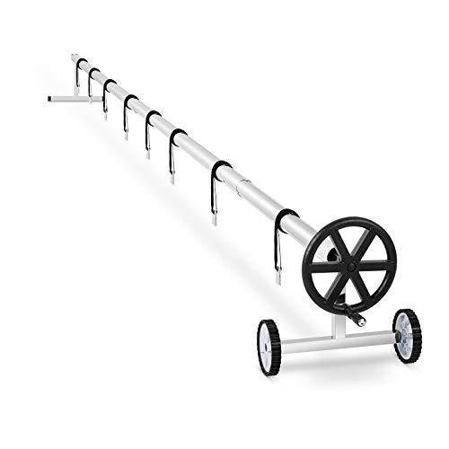 Uniprodo Rullo Avvolgitore per Piscina Copertura Piscine Mobile Uni_Pool_Reel_570 (8 Cinghie Incluse, Mobile, Acciaio Inox, 3-5,7 m)