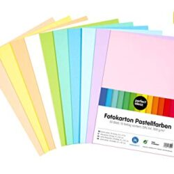 perfect ideaz – 50 fogli di carta colorata, formato A4, per bricolage, 10 diversi colori, 300 g/m2, cartoncino da disegno, set di fogli colorati