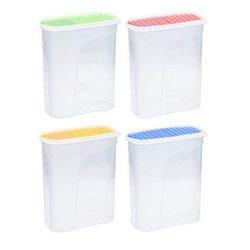 Invero®, set di 4contenitori in plastica, 2,5 litri, per cibo secco, dispenser da cucina, con coperchio ermetico, ideale per cereali, riso, pasta e altro