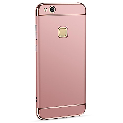 Huawei P10 lite Cover+ Pellicola Vetro Temperato 3 in 1 Ultra-thin 360 Full Body Ultra-thin Anti-Scratch Shockproof Hard PC Non-Slip Custodia with Electroplate Bumper for Huawei P10 lite (argento)