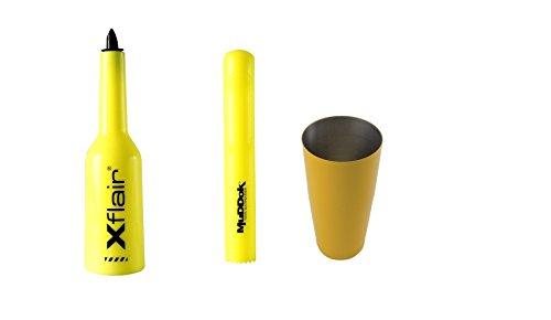 Flair bottle Kit colore Giallo con boston tin Giallo  Bottiglia allenamento Muddok pestello Barman