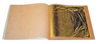 Sim Gold Leaf 20Fogli Oro Puro 24 Carati Alimentare Commestibile per Pasticceria, Decorazioni di Lusso, 44x 44mm
