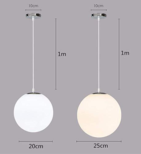 Lampadario con sfera di vetro, Lampada a sospensione, Lampada interna singola per Camera da letto, Soggiorno, Corridoio, Ristorante, Bar 1pcs (25CM) 4