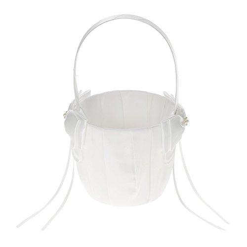 Decdeal Raso Nozze Fiore Cestino Avorio Bianco con Bowknot Decorazione Nozze Forniture
