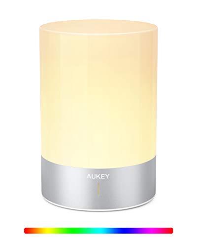 AUKEY Lampada da Comodino RGB Ricaricabile con 3 Luminosità