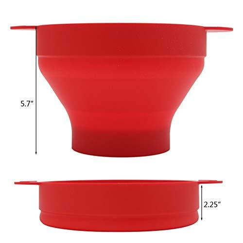 No brand Tuneway Ciotola Pieghevole nel Silicone per Popcorn Un microonde con Coperchio e Maniglie (Rosso) 8