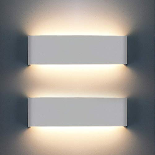 OOWOLF LED Lampada da Parete Interno 12W 1200LM, Applique da Parete Interno Moderno, 2 Pezzi Lampade per Interni, 3000K Bianco Caldo per Camera da Letto, Soggiorno, Scale, Corridoio