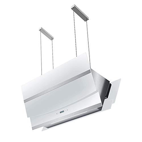 Cappa aspirante ad isola (90 cm, acciaio inox, vetro bianco, extra silenziosa, classe energetica A, 4 livelli, illuminazione a LED, display, tasti sensore TouchSelect) HERMES-INSEL-W902 – KKT KOLBE