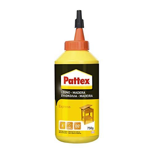 Pattex Colla Vinilica Express colla per legno ad incollaggio rapido, adesivo acetovinilico per montaggi, assemblaggi e laminature su legno, colla bianca, 1x750g