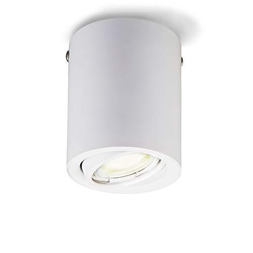 Plafoniera Led con lampadina GU10 inclusa orientabile, luce calda 3000K, 5W, 400 Lm, Lampada da soffitto rotonda in metallo colore bianco, faretto da soffitto per cucina, entrata, corridoio 230V IP20