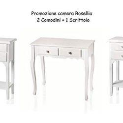MONTEMAGGI Set Composto da 2 Comodini Rosellina più 1 Scrittoio Rosellina