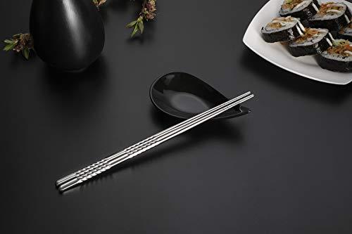 Bacchette, Chantwon 5 paia 10 pezzi Bacchette in Acciaio inox Lavabili per Piatti di Sushi o Riso, Riutilizzabili 10